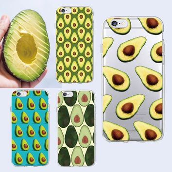 Cute Avocado Food Pattern Soft Phone Case Cover Coque Fundas For iPhone 6 6S 6Plus 7 7Plus 8 8plus X  SAMSUNG Galaxy