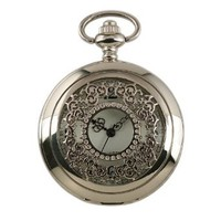 ESS Mens Stainless Steel Case White Dial Antique Pocket Watch with Chain WP002
