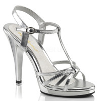 Fabulicious Silver Strappy Flair Sandal