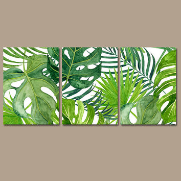 BANANA LEAF Wall Art, Tropical Bedroom Pictures, CANVAS or Prints, Palm Watercolor, Floral Green Bathroom Artwork, Home Decor, Set of 3
