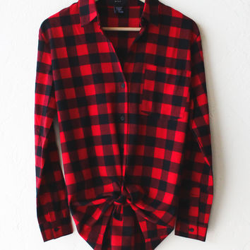 Oversized Plaid Flannel Shirt - Red/Black