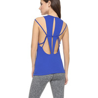 Blue Strappy Cut-Out Backless Tank Top
