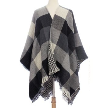 Womens Reversible Plaid Colorblock Poncho