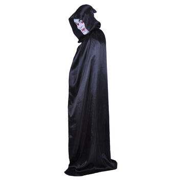 Adult Fancy Dress Halloween Costume Hooded Cloak Wedding Cape Wicca Robe S3