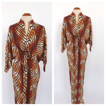 Vintage 1960s 70s Caftan Lisanne Distinctive Loungewear Groovy Tiger Striped Maxi Dress Cape Sleeve Kimono Robe Boho Caftan Dressing Gown