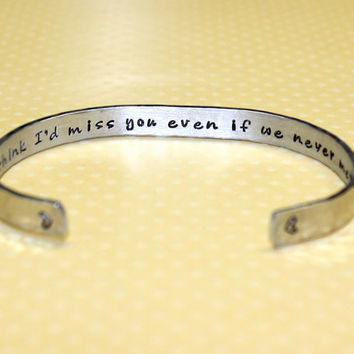 I'd Miss You...Friendship Secret Message Custom Hand Stamped Aluminum Cuff Bracelet by Korena Loves