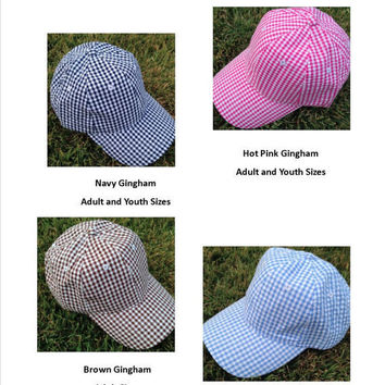 Bride & Bridesmaids' Seersucker Caps for a destination beach wedding, Preppy Personalized Seersucker Hats For Bridal Party