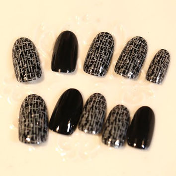 One Set of Glitter Powder Color Block Pattern Nail Art False Nails