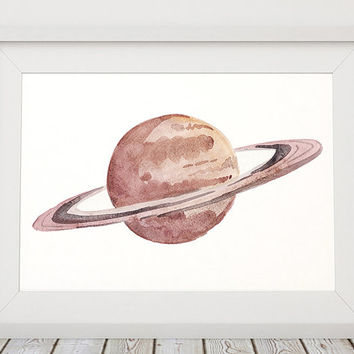 Saturn poster Space print Planet print Watercolor decor ACW718