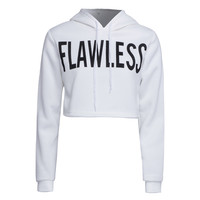 """White """"Flawless"""" Letter Print Cropped Hoodie"""