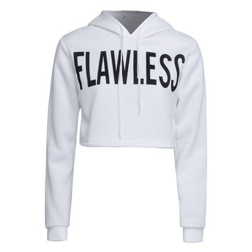 "White ""Flawless"" Letter Print Cropped Hoodie"
