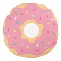 Pink Frosted Sprinkles Doughnut Round Pillow