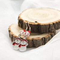 Christmas Snowman Earrings, Snowman Jewellery, Frozen Earrings, Silver Snowman Earrings, Winter Earrings