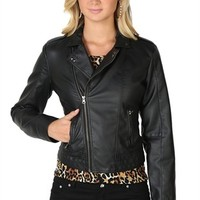 Faux Leather Moto Jacket with Zip Pockets and Studded Collar