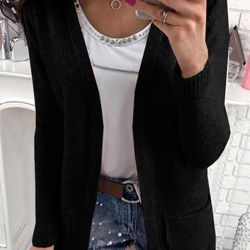 Black Pockets V-neck Long Sleeve Casual Wool Cardigan Sweater