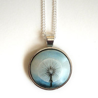 Make a Wish - Lovely Dandelion Pendant - Hand Painted Necklace - Painting Watercolor Jewelry- Choker  - Blue White