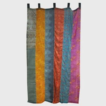Recycled Silks Panel Curtain -- Mexicali Blues