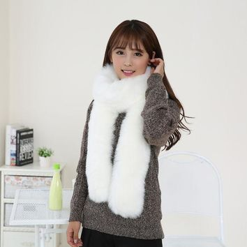 ICIKJG2 Details about  Women Faux Noble Fox Fur Collar Raccoon Fur Scarf Scarves Collar Shawl Wraps Autunm Winter 2016 hot sale