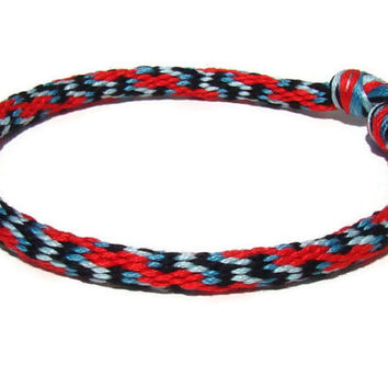 Unisex red and turquoise wavy pattern friendship kumihimo bracelet with or without purchased magnetic clasp-- your choice