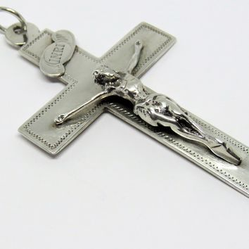 Antique French, Sisters Of the Sacred Heart, Silver, Crucifix,1800's