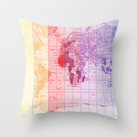 Rainbow World Map Throw Pillow by Catherine Holcombe | Society6