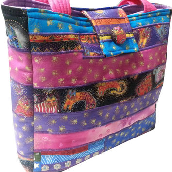 Purse in Laurel Burch Fanciful Feline Fabrics