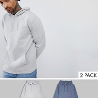 ASOS DESIGN hoodie 2 pack dark denim marl/gray marl at asos.com