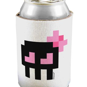Retro 8-Bit Skull with Pink Bow Can / Bottle Insulator Coolers
