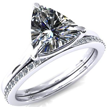 Lizzy Trillion Moissanite 3-Claw Prong Engagement Ring