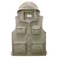 Mesh Outdoor Casual Thin Fishing Photography Detachable Hood Vest for Men