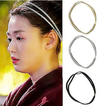 Women Chic Elastic Bling Hair Band Double Braided Glitter Headband Hair Hoop AU