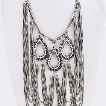 Crystal Draped Chain Statement Necklace & Earrings SET