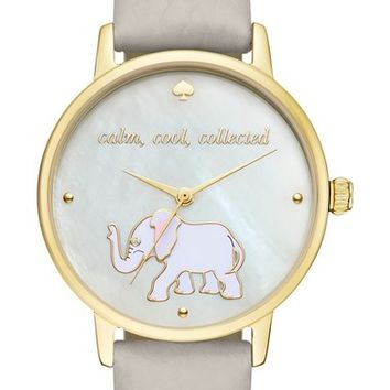 kate spade new york 'metro' elephant leather strap watch, 34mm | Nordstrom