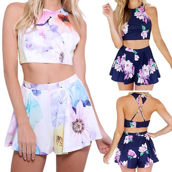 Women Fashion Clothing 2 Pieces Set Sexy Sleeveless Top and Shorts Beach Style = 1667546180