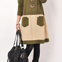 Olive Green Plaid Paneled Midi Dress with Pockets
