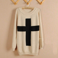 Beige Cross Loose Sweater