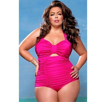 Swimsuit Sweetheart Neck Ruched One-piece Swimwear Big Plus Size XXL,XXXL,XXXXL,XXXXXL [9221906500]