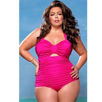 Swimsuit Sweetheart Neck Ruched One-piece Swimwear Big Plus Size XXL,XXXL,XXXXL,XXXXXL [9305638599]