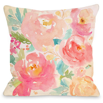 """Popping Peonies"" Outdoor Throw Pillow by OneBellaCasa, 16""x16"""