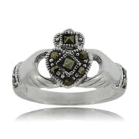 Claddagh Ring Sterling Silver Marcasite Ladies Claddah