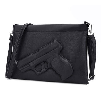PU Leather Women's Messenger Bag Satchel Pistol Clutch Bag Chain 3D Gun Handbag Crossbody Envelope Vintage Purses Shoulder Bag