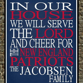 Customized Name New England Patriots NFL football personalized family print poster Christian gift sports wall art - multiple sizes