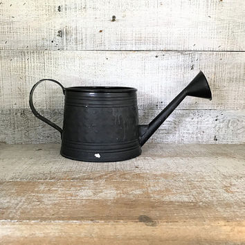 Watering Can Rustic Watering Can Vintage Black Watering Can Farmhouse Chic Watering Can Flower Pot Garden Decor Cottage Chic