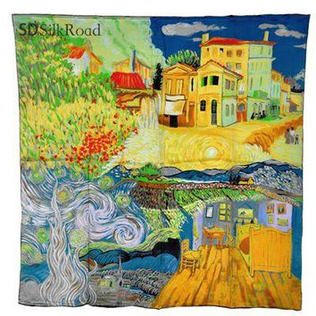 Van Gogh's Painting Collection Art Work Thin Square Silk Scarf