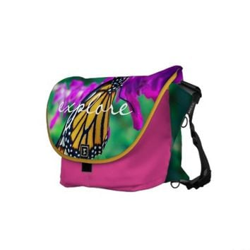 """Explore"" monarch butterfly photo messenger bag"