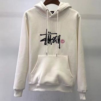 Stussy Tide brand embroidery classic letters men and women models hooded hoodies White