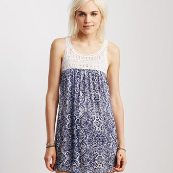 Lace Yoke Print Dress