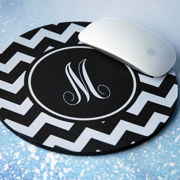 Geometric Initial Monogram Mousepad, Custom Mousepad, Personalized Mousepad, Computer Mouse Pad, Chevron Mouse Pad, Round Mouse Pad
