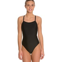 Waterpro Solid Thin Strap One Piece Swimsuit at SwimOutlet.com