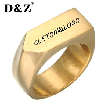 D&Z Gold Color Geometric Rings Punk Titanium Stainless Steel Square Finger Signet Rings for Men Jewelry Male Gentleman